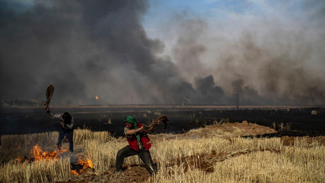 نيران تلتهم حقول القمح والشعير شمال شرق سوريا