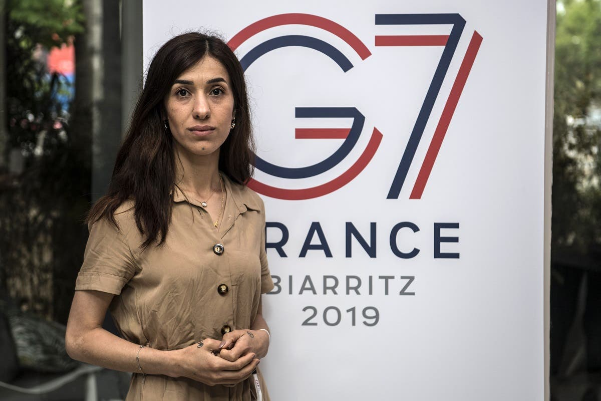 Laureate of the 2018 Nobel Peace Prize and Iraqi Yazidi activist Nadia Murad poses upon her arrival to an event organised by the AFD (French Development Agency) on May 9, 2019 in Paris. (AFP)