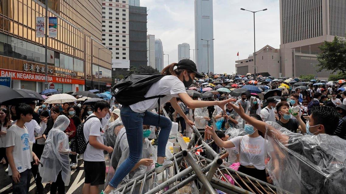 Protestors gather near the Legislative Council in Hong Kong, Wednesday, June 12, 2019. (AP)