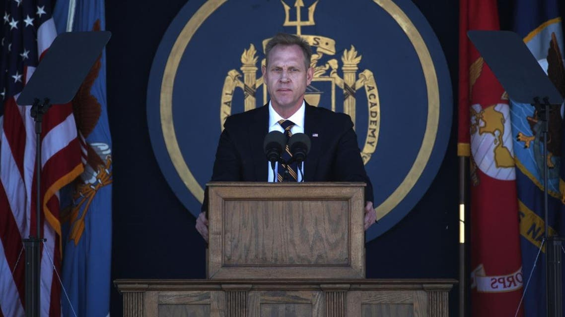 Acting U.S. Defense Secretary Patrick Shanahan speaks during a graduation ceremony at the U.S. Naval Academy May 24, 2019 in Annapolis, Maryland. (AFP)