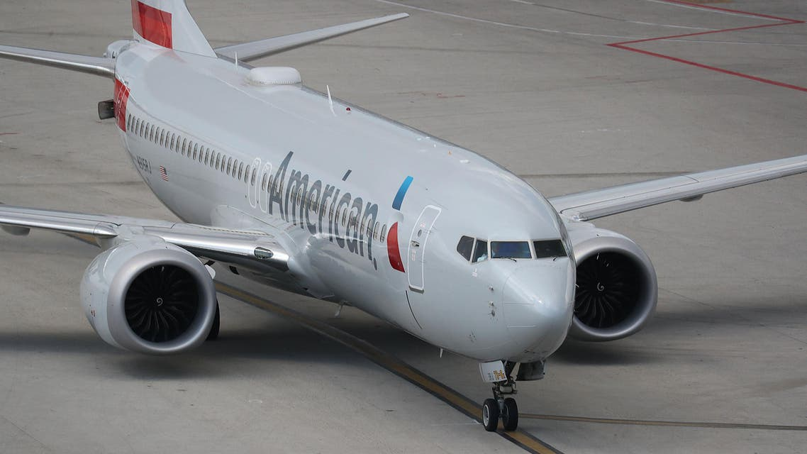 An American Airlines Boeing 737 Max 8 taxis to its gate at the Miami International Airport on March 12, 2019. (AFP)