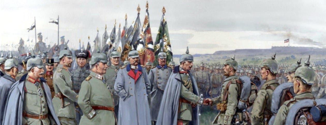 رسم تخيلي للقيصر الألماني فيلهلم الثاني وهو يتفقد جنوده