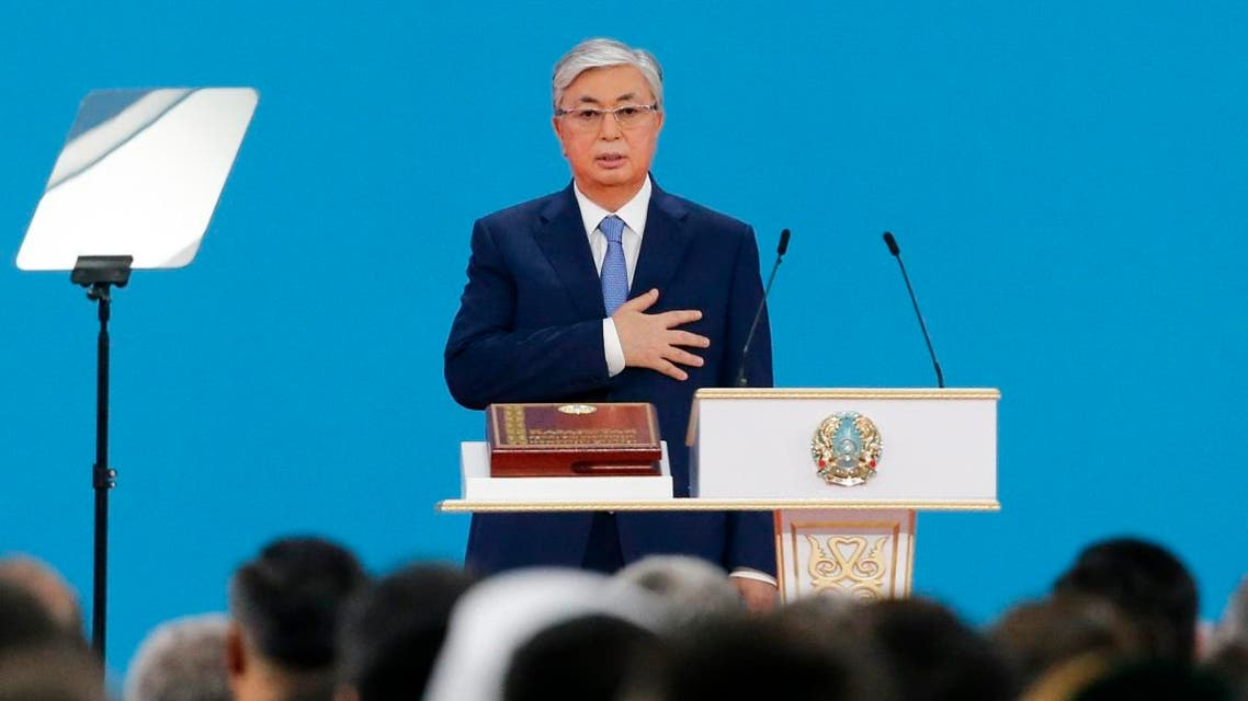 Kazakhstan's President-elect Tokayev takes the oath of office during his inauguration ceremony in Nur-Sultan, on June 12, 2019. (AP)