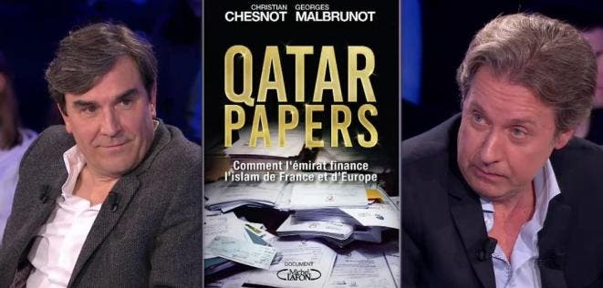File photo shows French journalists Christian Chesnot and Georges Malbrunot and their book: The Qatar Papers – How the Emirate Finances Islam in France and Europe. (File photo)