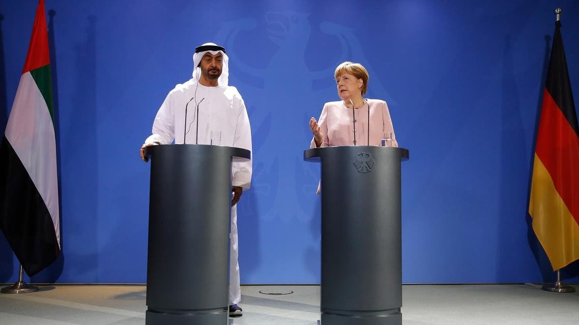 German Chancellor Angela Merkel and Abu Dhabi's Crown Prince Mohammed bin Zayed address journalists at the Chancellery ahead of their meeting in Berlin on June 12, 2019. (AFP)