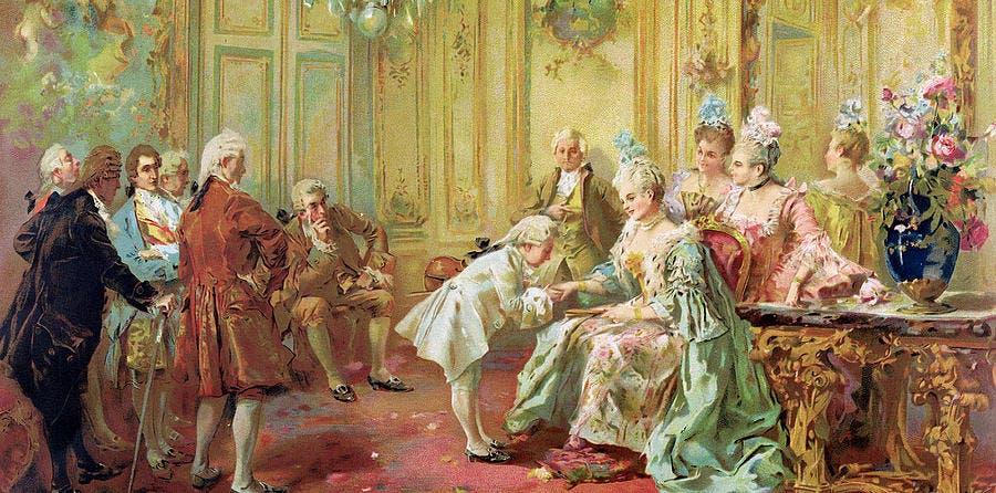 صورة لموزارت أثناء تقديمه للآنسة بامبدور بقصر فرساي بفرنسا