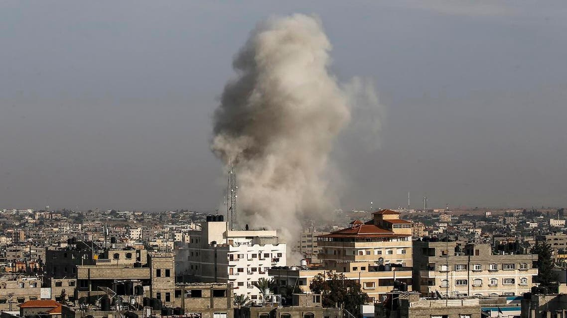 File photo of an Israeli air strikes in the Palestinian city of Rafah in the southern Gaza Strip on May 5, 2019. (AFP)