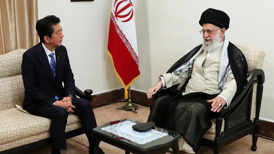 Iran's Leader Ayatollah Ali Khamenei meeting with Japanese Prime Minister Shinzo Abe in Tehran. (Courtesy: Twitter)
