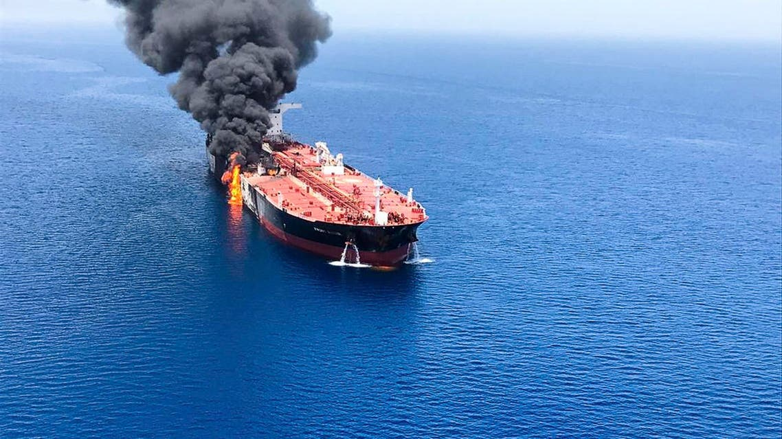 An oil tanker is on fire in the sea of Oman, Thursday, June 13, 2019. (AP)