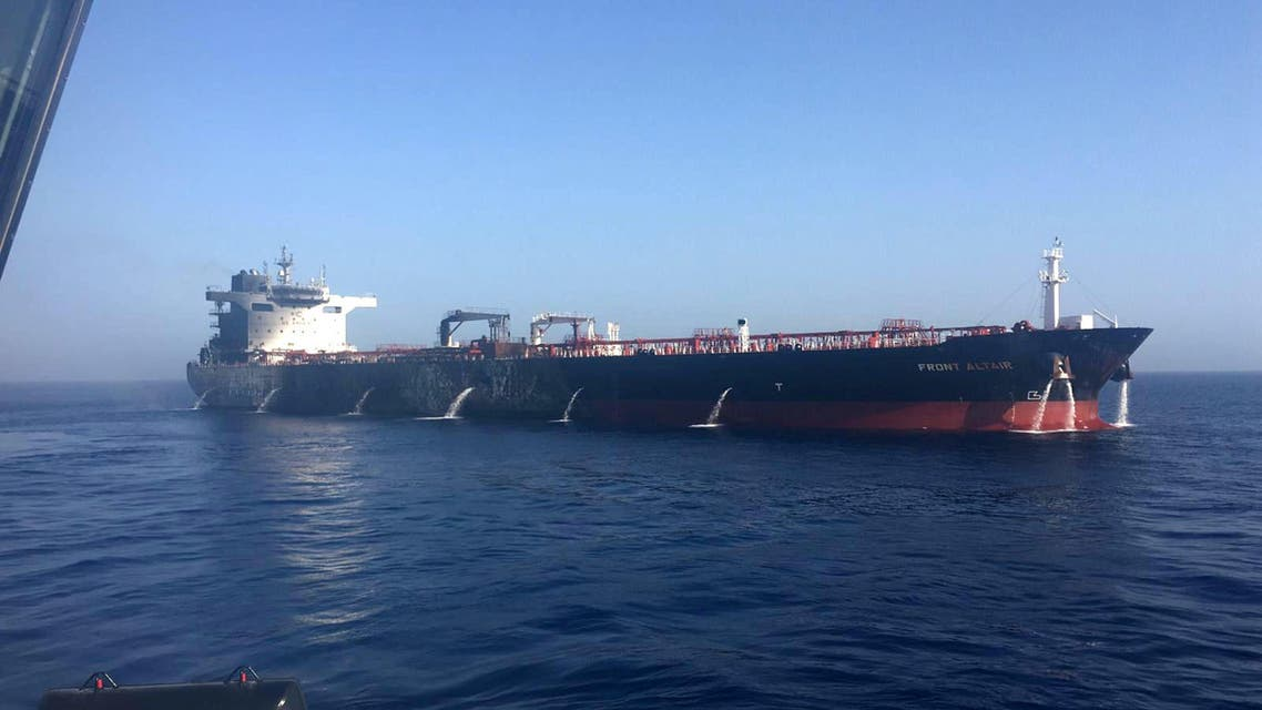 A picture obtained by AFP from Iranian News Agency ISNA on June 13, 2019 reportedly shows fire and smoke billowing from Norwegian owned Front Altair tanker said to have been attacked in the waters of the Gulf of Oman. Suspected attacks left two tankers in flames in the waters of the Gulf of Oman today, sending world oil prices soaring as Iran helped rescue stricken crew members. The mystery incident, the second involving shipping in the strategic sea lane in only a few weeks, came amid spiralling tensions between Tehran and Washington, which has pointed the finger at Iran over earlier tanker attacks in May.