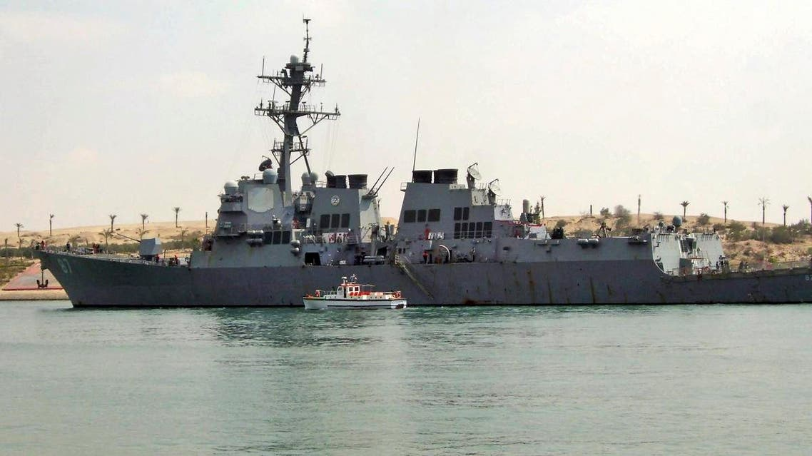 File photo of US destroyer USS Mason as it sails in the Suez canal in Ismailia, Egypt.  (AP)