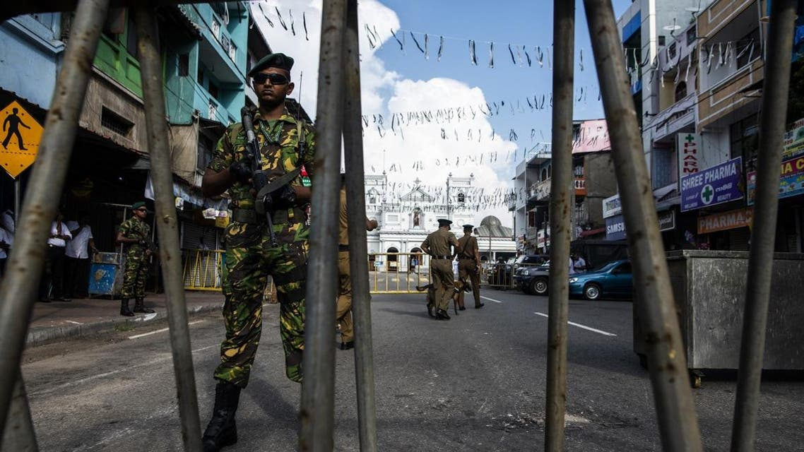Sri Lankan soldiers stand guard near St. Anthony's Shrine in Colombo on April 28, 2019, a week after a series of bomb blasts targeting churches and luxury hotels on Easter Sunday in Sri Lanka. (AFP)