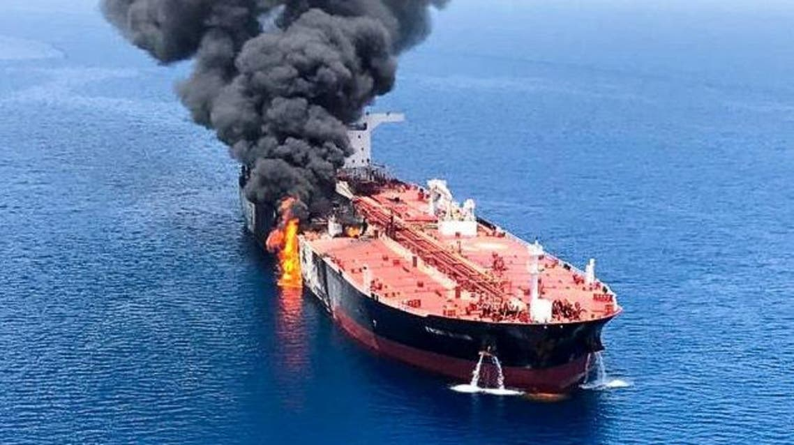 An oil tanker is seen after it was attacked at the Gulf of Oman, in waters between Gulf Arab states and Iran, June 13, 2019. (Reuters)