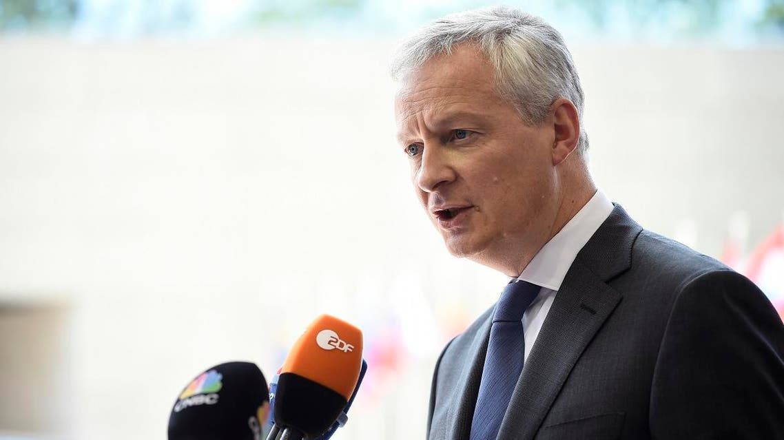 French Finance Minister Bruno Le Maire answers journalists during Eurogroup meeting at the EU headquarters in Luxembourg on June 13, 2019. (AFP)