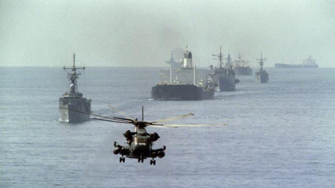 قوات أميركية مرافقة لناقلات نفط كويتية في عام 1987