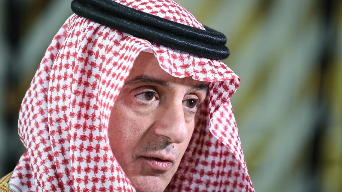 Saudi Arabia's Minister of State for Foreign Affairs Adel al-Jubeir gives a joint press conference with with the visiting Russian foreign minister at the Royal Hall of the Saudi capital Riyadh's King Khalid International Airport on March 4, 2019.