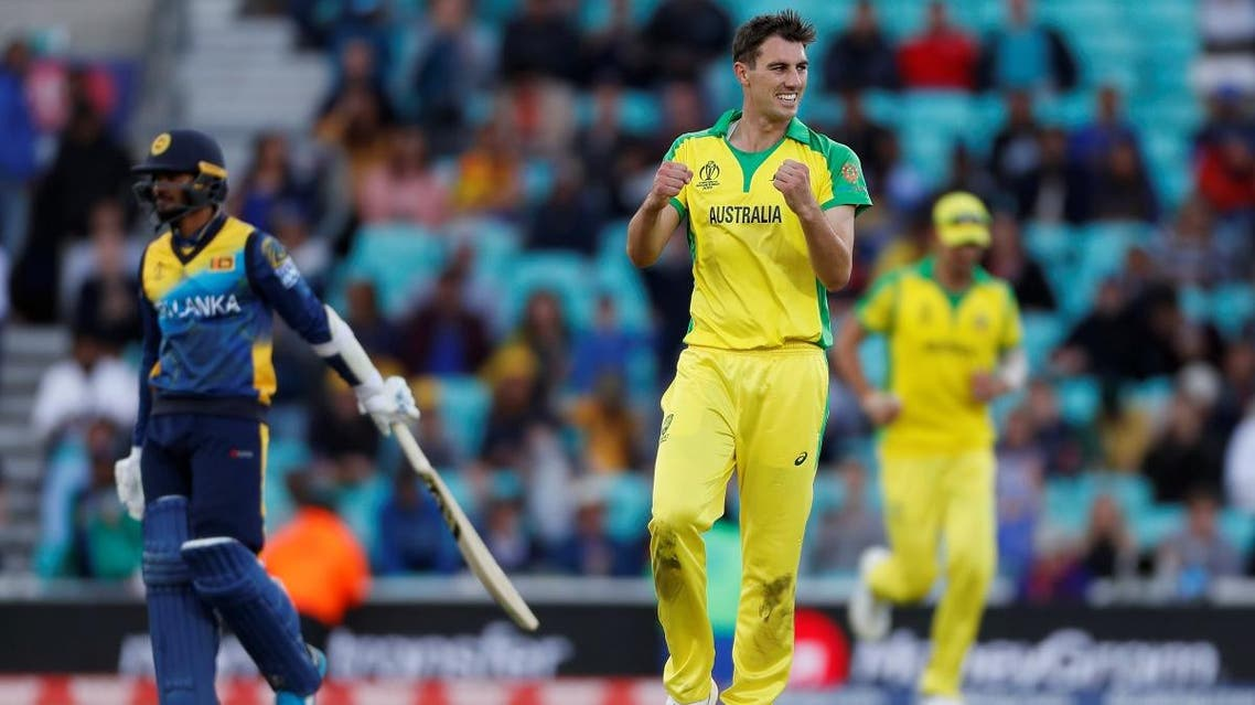 Australia's Pat Cummins celebrates taking the wicket of Sri Lanka's Nuwan Pradeep to win the ICC World Cup match at The Oval in London on June 15, 2019. (Reuters)