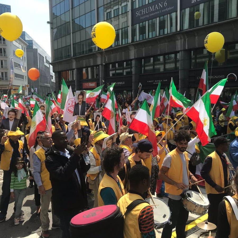 بروكسل.. آلاف الإيرانيين يطالبون بتغيير نظام طهران