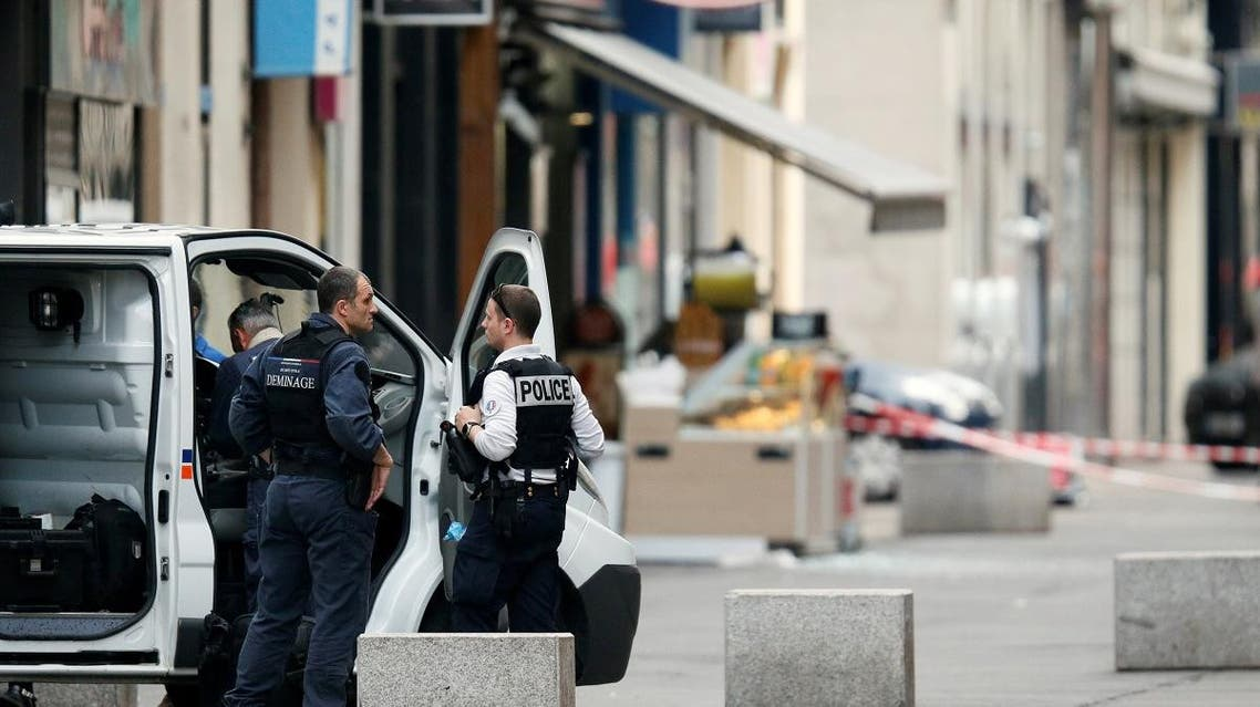 Police is seen near the site of a suspected bomb attack in central Lyon, France May 24, 2019. REUTERS