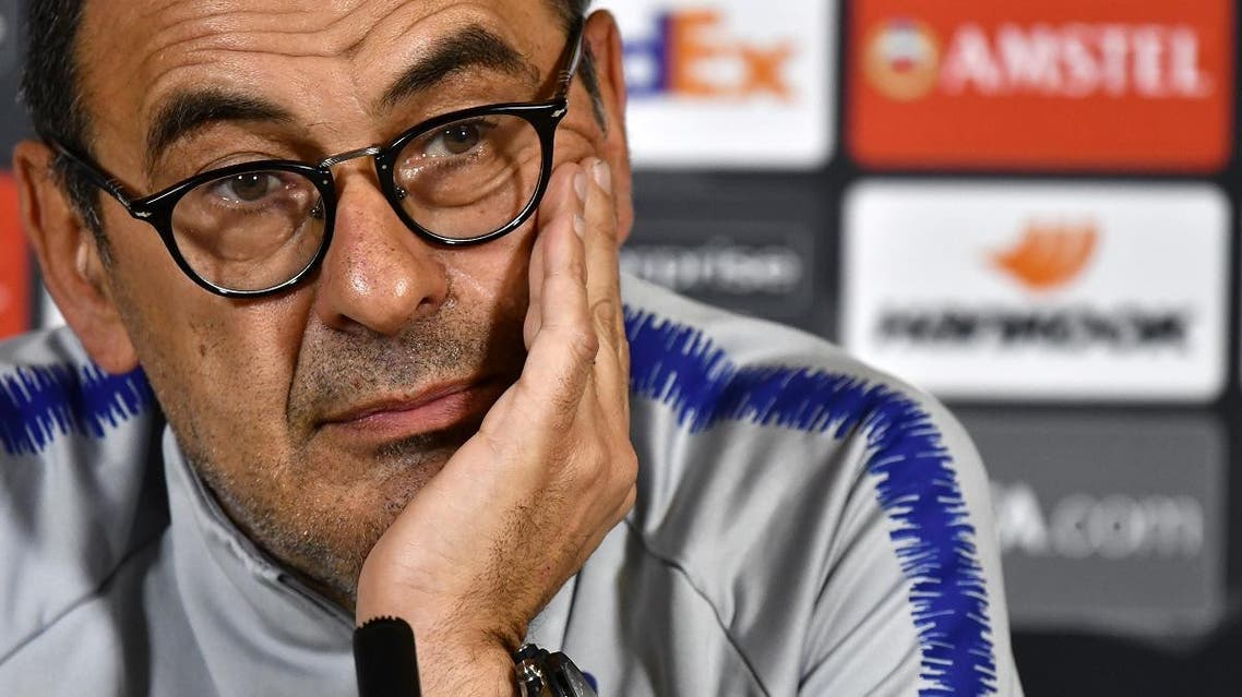 Maurizio Sarri at a press conference at Chelsea Training Ground, in Cobham, Surrey. (AFP)