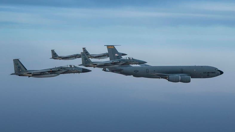 Saudi F-15C Eagles fly in formation with US Air Force counterparts