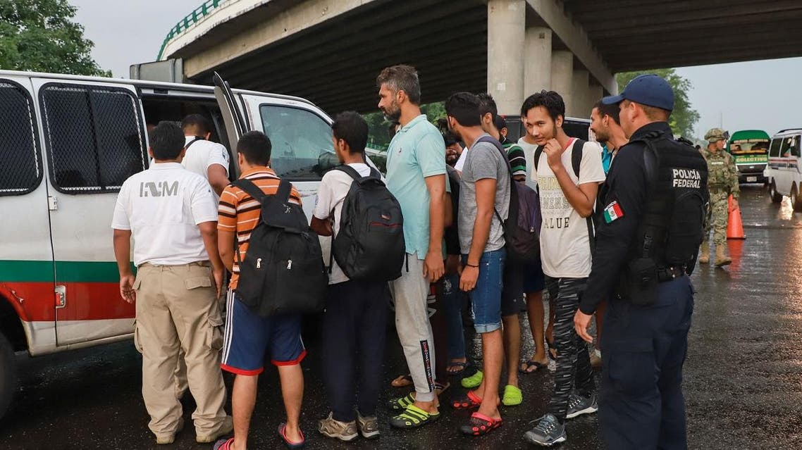Mexican migration and military police detained undocumented Indian migrants at a checkpoint on the outskirts of Tapachula, Chiapas State, Mexico on June 14, 2019. (AFP)