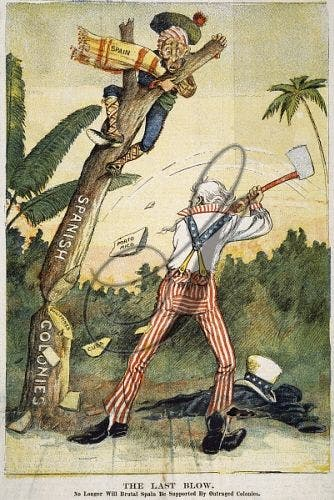 رسم كاريكاتيري ساخر يجسد هيمنة الأميركيين على المستعمرات الإسبانية