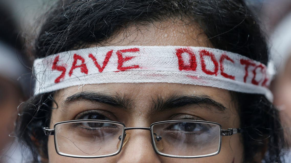 Medical students participate in a protest called by Indian Medical Association (IMA), during a nationwide doctors strike in Ahmedabad, India, June 17, 2019. REUTERS/Amit Dave