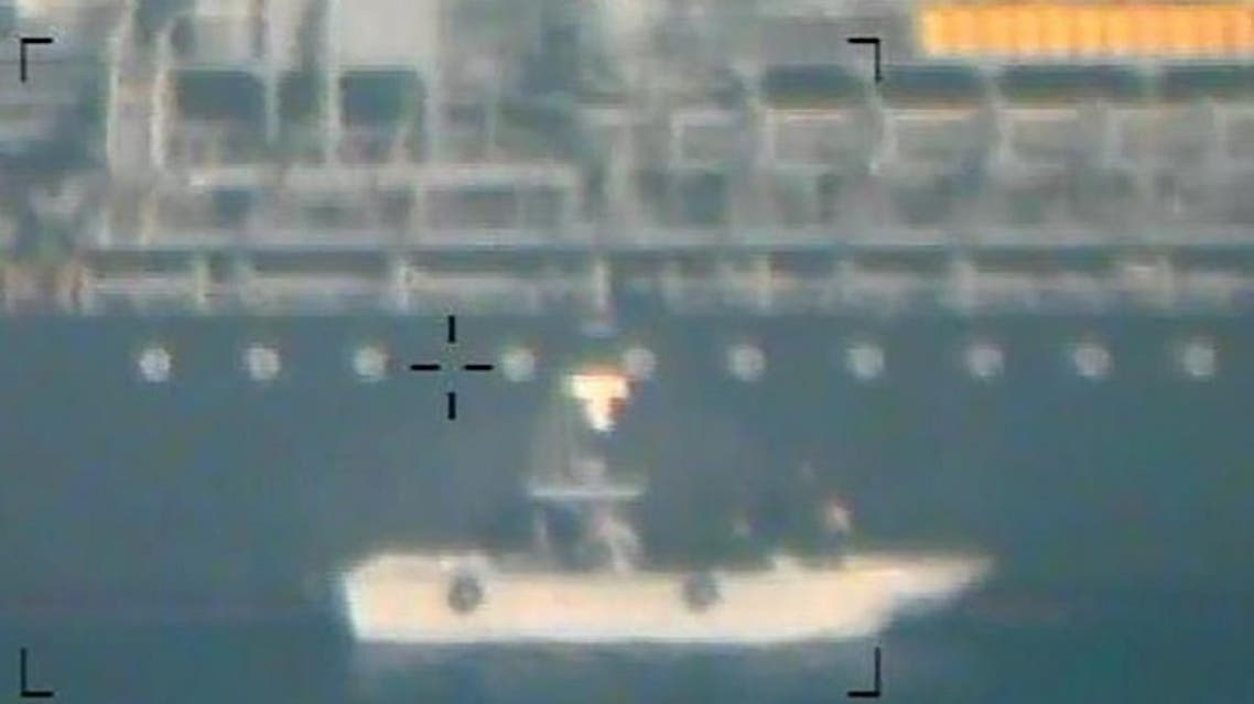 This image released on June 17, 2019 by the US Department of Defense in a press release is presented as a new evidence incriminating Iran in the June 13 tanker attacks in the Gulf of Oman. (AFP)