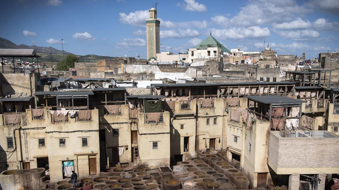 A view of the tannery in the 9th century walled medina in the ancient Moroccan city of Fez on April 11, 2019. (AFP)