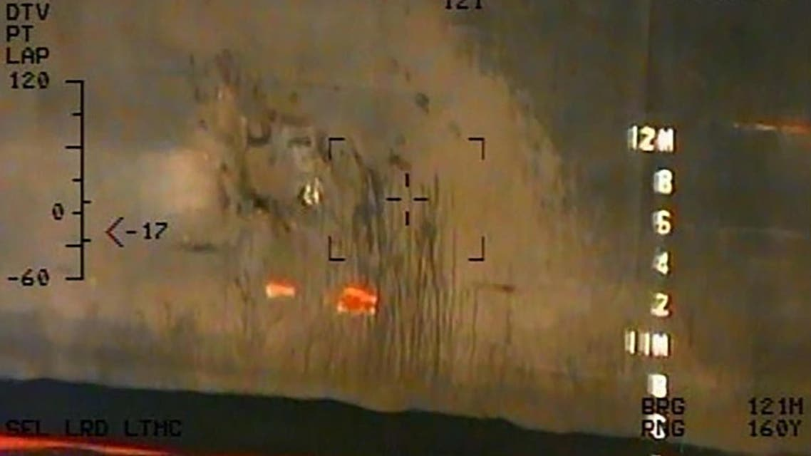 The image released on June 17, 2019 by the US Department of Defense presented as a new evidence incriminating Iran in the June 13 tanker attacks in the Gulf of Oman. (AFP)