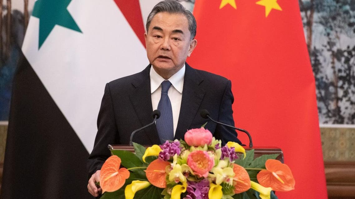 Chinese foreign minister Wang Yi during a press conference with his Syrian counterpart in Beijing, China June 18, 2019. (AFP)
