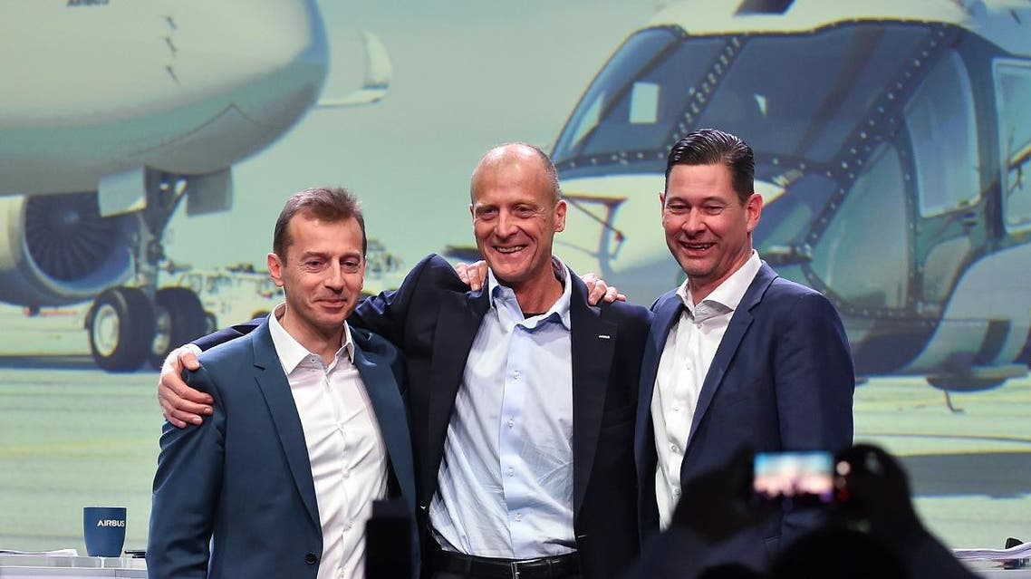 (From Left) President of Airbus Commercial Aircraft Business Guillaume Faury, Executive Chairman of Airbus Tom Enders and Airbus Financial Chief officer Harald Wilhelm during a press conference, in Blagnac, on February 14, 2019.  (AFP)
