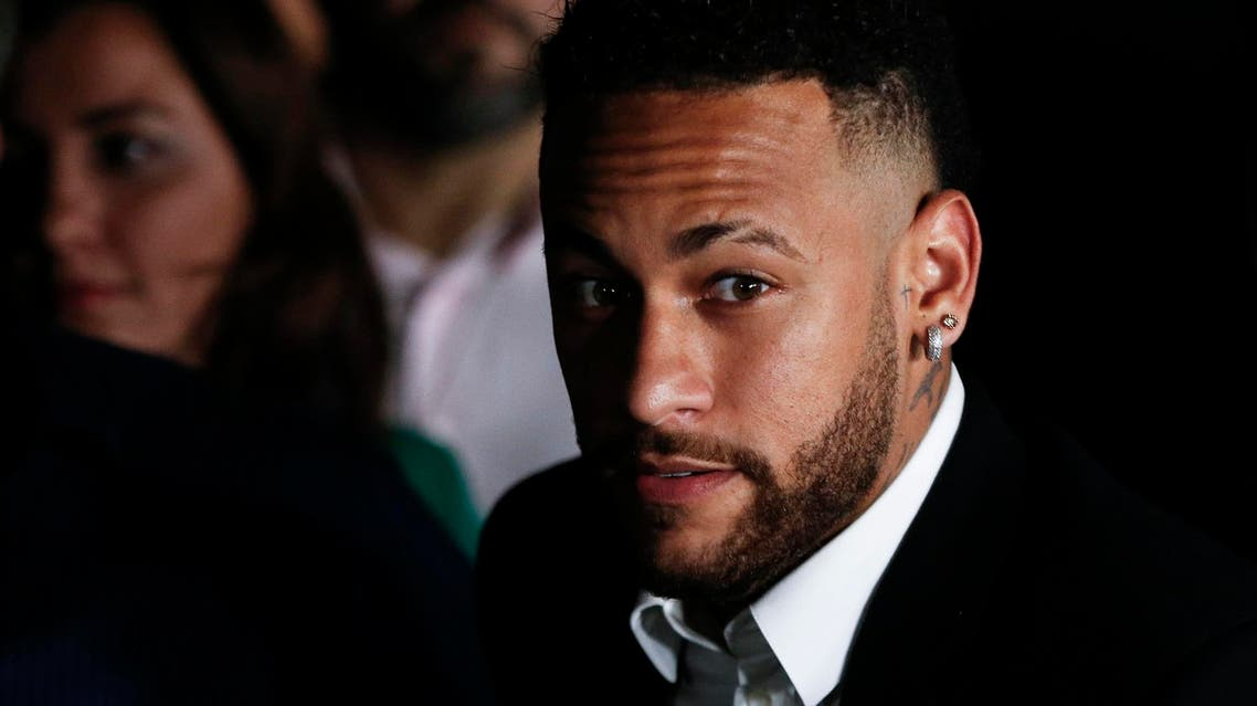 Neymar (C) speaks to the media in Sao Paulo on June 13, 2019. (AFP)