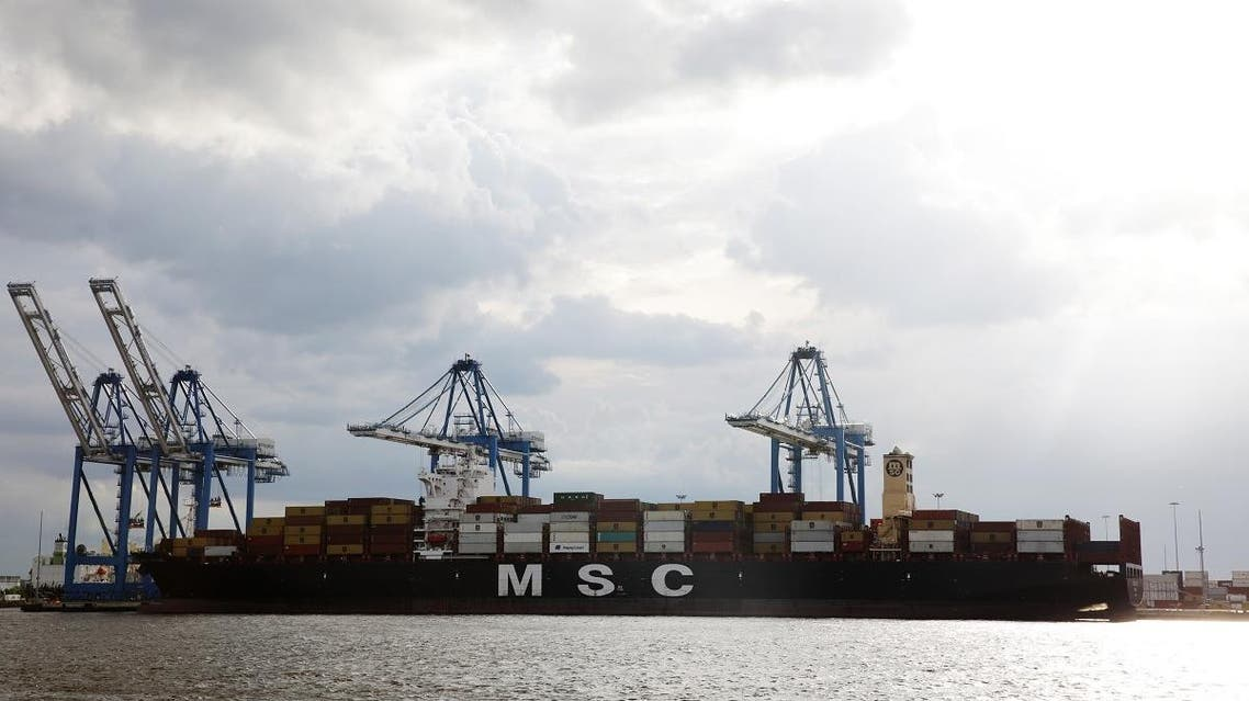 Cranes unload the freight ship MSC Gayane, after US authorities seized more than 16 tons of cocaine at the Packer Marine Terminal in Philadelphia, Pennsylvania on June 18, 2019. (AFP)