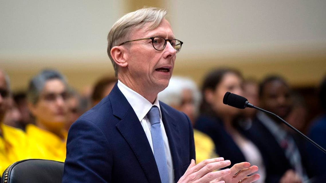Brian Hook, the US Special Representative for Iran, testifies before a House Foreign Affairs Subcommittee on the Middle East, North Africa, and International Terrorism hearing at the Capitol in Washington, DC. (AFP)