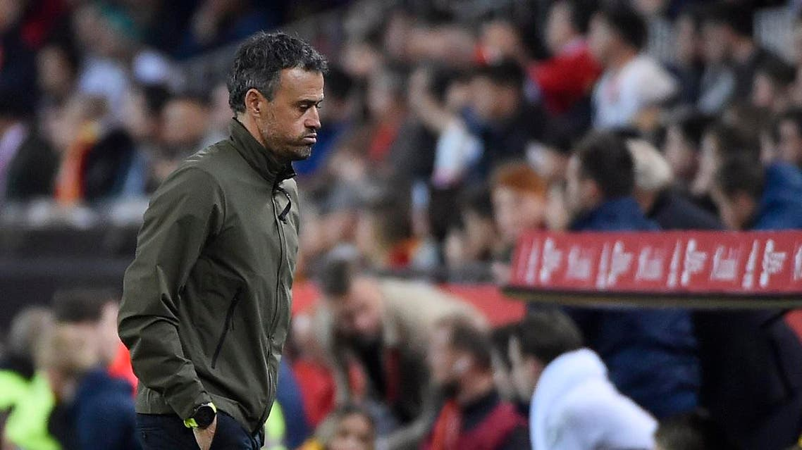 Spain's coach Luis Enrique reacts at the end of the Euro 2020 group F qualifying football match between Spain and Norway. (AFP)