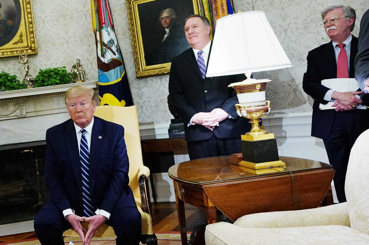 US President Donald Trump, Secretary of State Mike Pompeo, and National Security Advisor John Bolton are seen during a bilateral meeting with Canada's Prime Minister Justin Trudeau in the Oval Office of the White House in Washington, DC on June 20, 2019. (AFP)