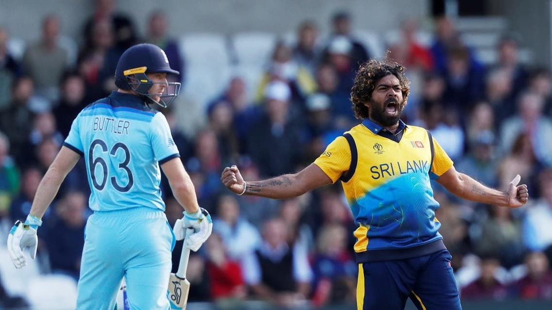 Sri Lanka's Lasith Malinga celebrates taking the wicket of England's Jos Buttler in the ICC Cricket World Cup match at Headingley, Leeds, Britiain, on June 21, 2019. (Reuters)