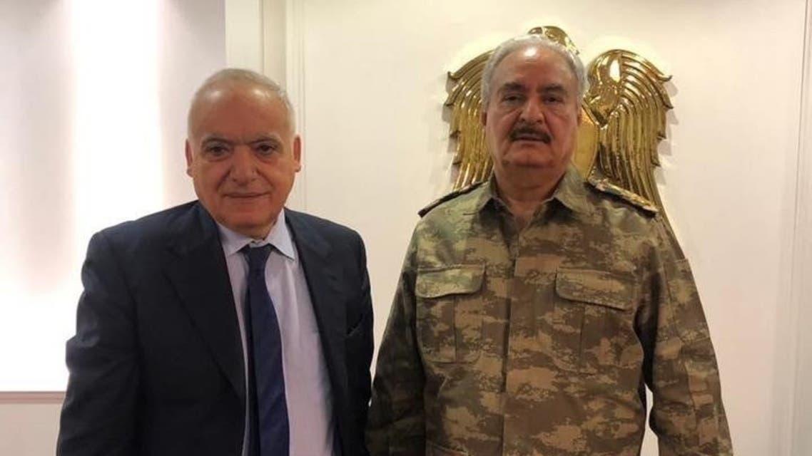 المبعوث الأممي لليبيا غسان سلامة التقى وقائد الجيش الليبي خليفة حفتر