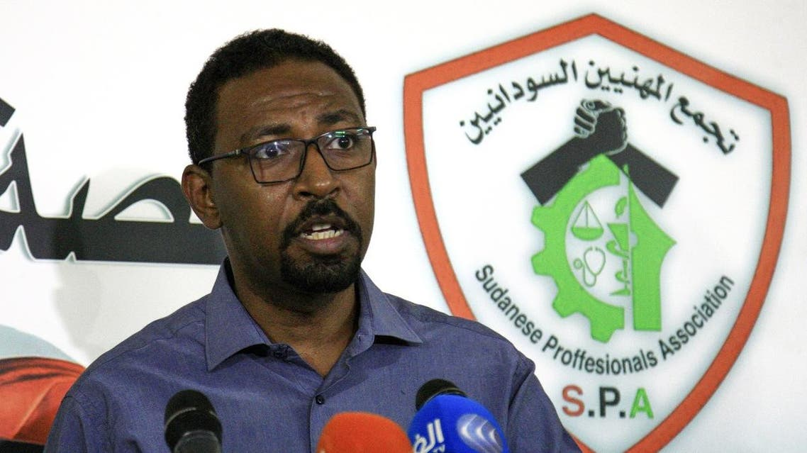 Amjad Farid, a spokesman for the protest movement, speaks to the press in the Sudanese capital Khartoum on April 27, 2019. (AFP)