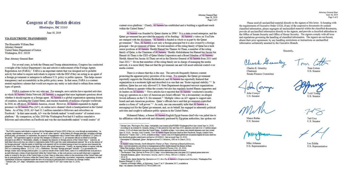 al jazeera signed letter main