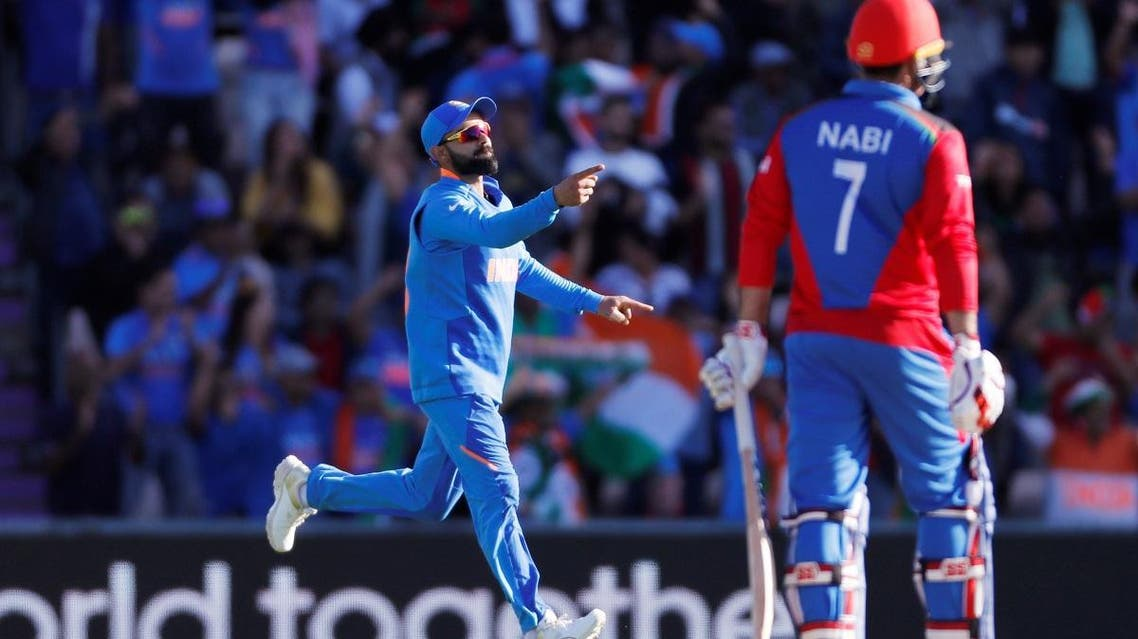 India's Virat Kohli celebrates the wicket of Afghanistan''s Mohammad Nabi in the ICC Cricket World Cup match at The Ageas Bowl, Southampton, Britain, on June 22, 2019. (Reuters)