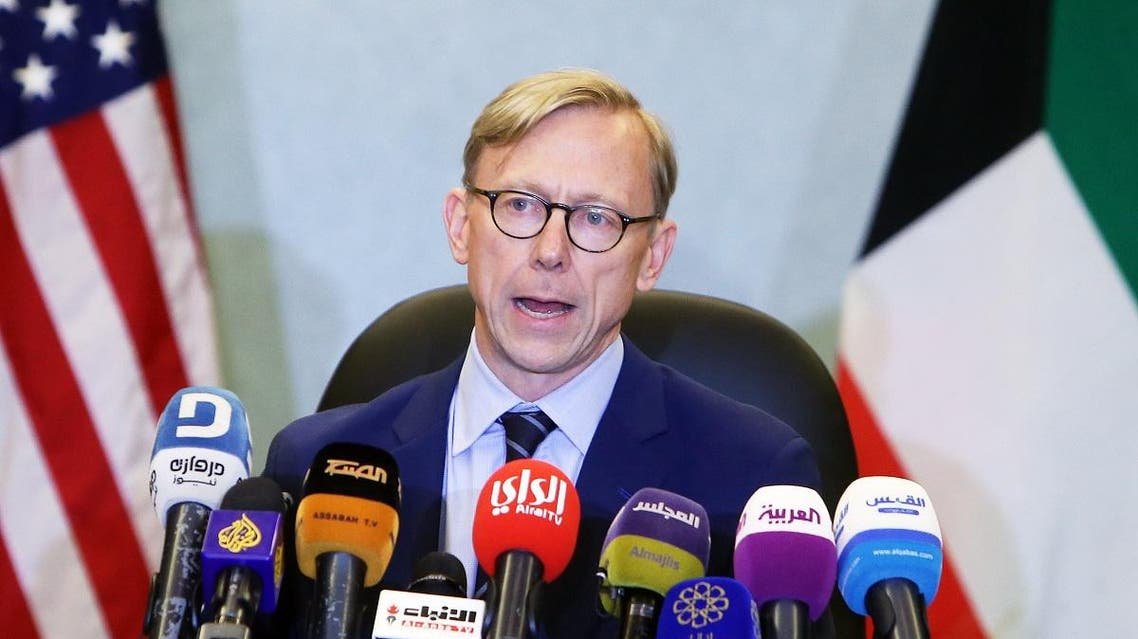 Brian Hook, the US Special Representative for Iran, speaks during a press conference in Kuwait City. (AFP)