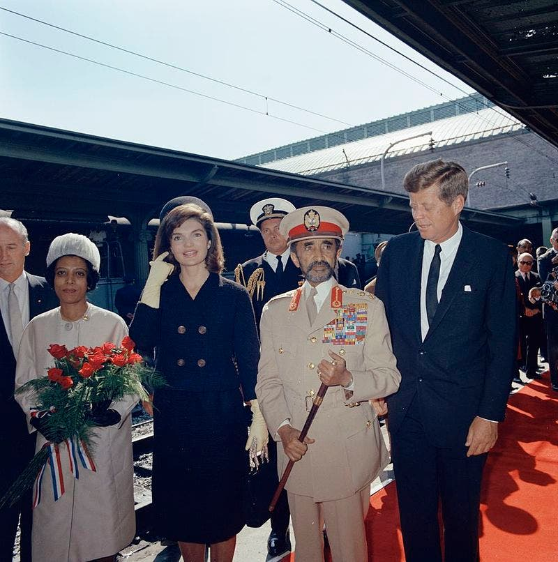 هيلا سيلاسي رفقة الرئيس الأميركي جون كينيدي