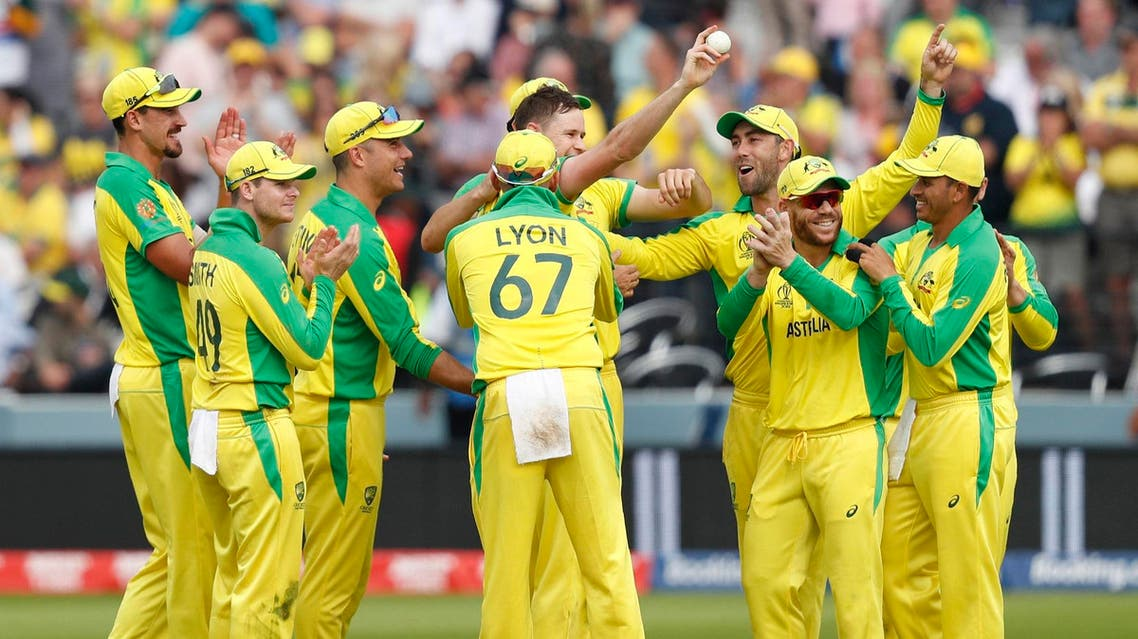 Australian crickets celebrate during the 2019 Cricket World Cup match against England at Lord's Cricket Ground in London on June 25, 2019. (AFP)