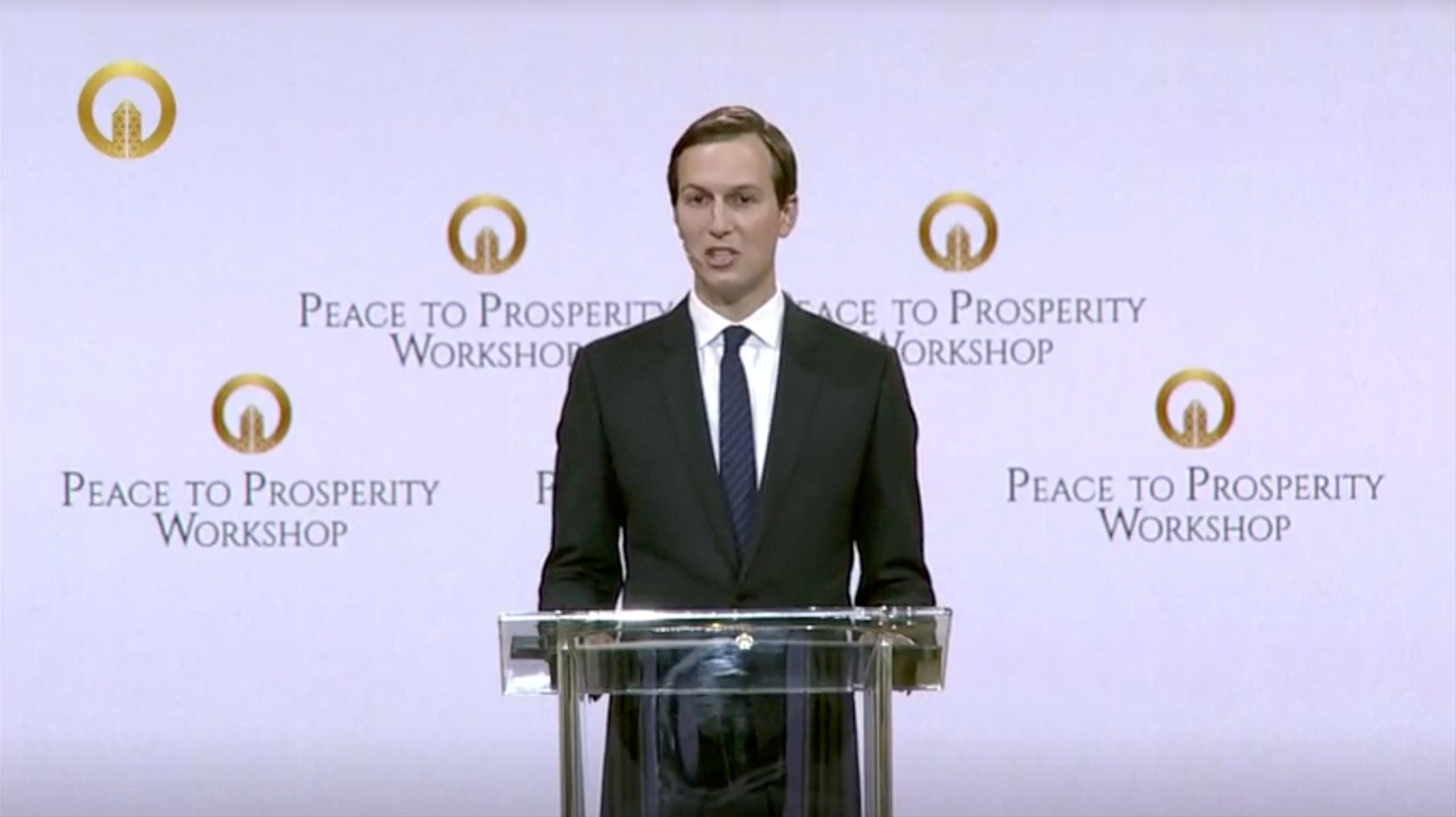 "Jared Kushner speaks at the opening of the ""Peace to Prosperity"" conference in Manama on June 25, 2019. (Reuters)"