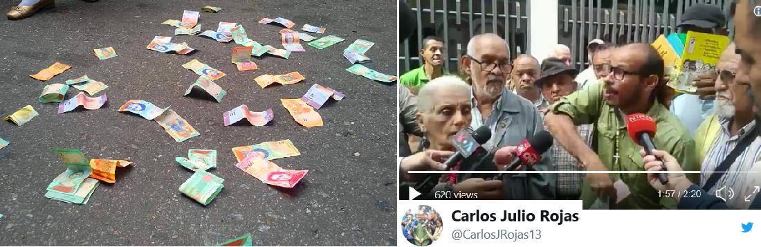 وفي حسابه التويتري بث المحتج فيديو عن رميه العملة بالشارع