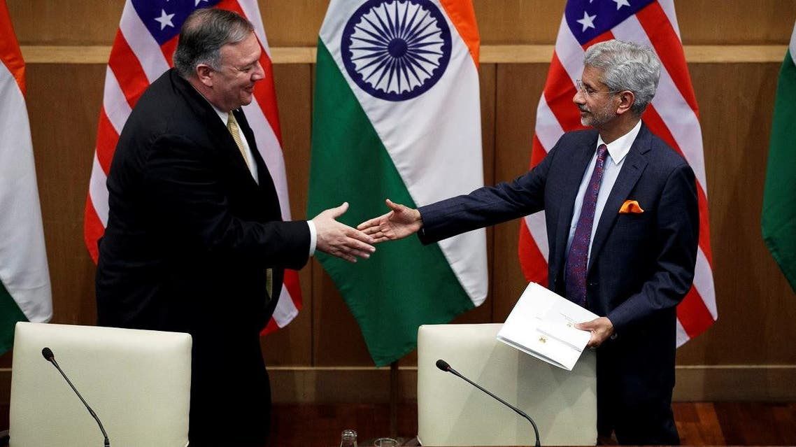 US Secretary of State Mike Pompeo and Indian Foreign Minister Subrahmanyam Jaishankar shake hands after a news conference at the Foreign Ministry in New Delhi, on June 26, 2019. (Reuters)