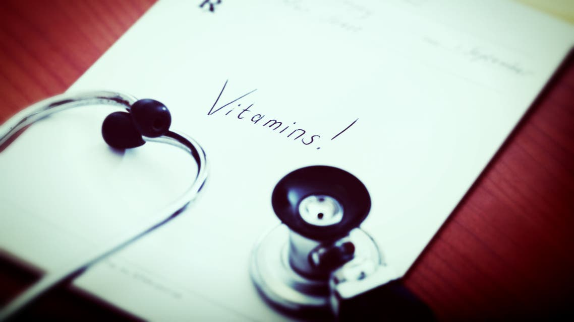 Vitamins! says prescription. A proper diet is essential for health. - Stock image